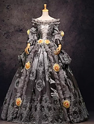 cheap -Rococo Victorian 18th Century Dress Party Costume Masquerade Women's Lace Lace Satin Costume Gray Vintage Cosplay Prom Long Sleeve Long Length