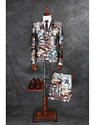 cheap -Coffee Pattern Tailored Fit Polyester Suit - Notch Single Breasted One-button / Suits