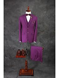 cheap -Solid Colored Tailored Fit Cotton Blend Suit - Notch Single Breasted Two-buttons / Suits