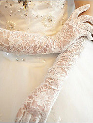 cheap -Lace / Cotton Wrist Length / Elbow Length Glove Charm / Stylish / Bridal Gloves With Embroidery / Solid