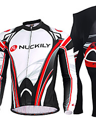 cheap -Nuckily Men's Long Sleeve Winter Fleece Polyester Black Stripes Bike Clothing Suit Windproof Breathable Quick Dry Anatomic Design Ultraviolet Resistant Sports Stripes Clothing Apparel / Stretchy
