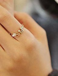 cheap -Women's Statement Ring thumb ring Silver Golden Imitation Diamond Alloy Ladies Unusual Unique Design Party Daily Jewelry Music Music Notes Adjustable