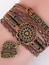 cheap -Men's Women's Wrap Bracelet Leather Bracelet Love Ladies Inspirational Leather Bracelet Jewelry Brown For Christmas Gifts Daily Casual Sports