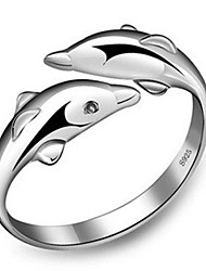 cheap -Women's Band Ring Open Cuff Ring wrap ring Silver Sterling Silver Ladies Fashion Cute Wedding Party Jewelry Dolphin Animal Friendship Adjustable