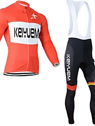cheap -KEIYUEM Men's Long Sleeve Cycling Jersey with Bib Tights Bike Pants / Trousers Tights Clothing Suit Waterproof Windproof Breathable Quick Dry Sweat-wicking Winter Sports Patchwork Clothing Apparel