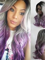 Недорогие -Парики из искусственных волос Естественные кудри Естественные кудри Лента спереди Парик Длинные Фиолетовый Искусственные волосы Фиолетовый