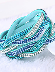 cheap -Women's Crystal Wrap Bracelet Leather Bracelet Layered Stacking Stackable Ladies Luxury Unique Design Fashion Multi Layer Leather Bracelet Jewelry Green / Blue / Light Blue For Christmas Gifts