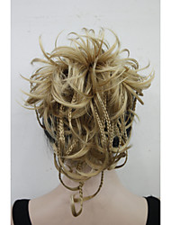 cheap -new fashion golden blonde bendable wires short hairpiece tiny braids claw clip ponytail 0288a 24b