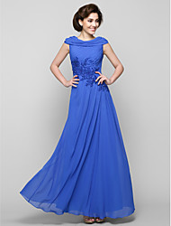 cheap -A-Line Mother of the Bride Dress Elegant Cowl Neck Ankle Length Chiffon Sleeveless with Criss Cross Appliques 2021