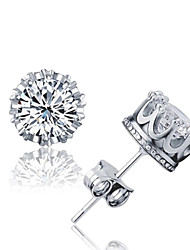 cheap -Crystal AAA Cubic Zirconia Stud Earrings Magic Back Earring Solitaire Round Cut Crown Ladies Basic Simple Style Fashion Elegant Bling Bling Sterling Silver Crystal Zircon Earrings Jewelry Silver For