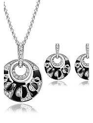 cheap -Women's Synthetic Ruby Jewelry Set Luxury Earrings Jewelry Black For Wedding Party / Necklace