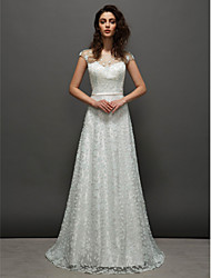 cheap -Ball Gown Prom Formal Evening Dress Jewel Neck Short Sleeve Court Train Lace with Sash / Ribbon 2020