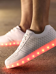 cheap -Men's Comfort Shoes Leather Spring / Fall LED Slip Resistant Black / White / Lace-up / Light Up Shoes / EU42