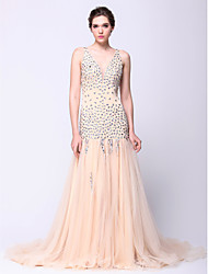 cheap -Fit & Flare Sparkle & Shine Beaded & Sequin Prom Formal Evening Dress Plunging Neck Sleeveless Court Train Tulle with Beading 2020