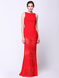 cheap -Sheath / Column Formal Evening Dress Bateau Neck Boat Neck Sleeveless Floor Length Lace Georgette with 2021