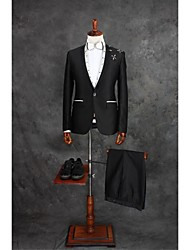cheap -Black Gingham Tailored Fit Cotton Blend Suit - Slim Notch Single Breasted One-button / Suits