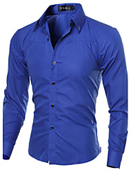 cheap -Men's Daily Work Business Plus Size Slim Shirt - Solid Colored Basic Spread Collar Navy Blue / Long Sleeve / Spring / Fall