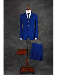 cheap -Royal Blue Solid Colored Tailored Fit Cotton Blend Suit - Notch Single Breasted Two-buttons / Suits