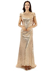 cheap -Sheath / Column Formal Evening Dress Jewel Neck Floor Length Satin with Crystals 2021