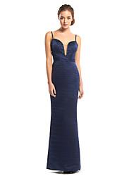 cheap -Sheath / Column Prom Formal Evening Dress Spaghetti Strap Sleeveless Floor Length Satin with Criss Cross Beading 2020