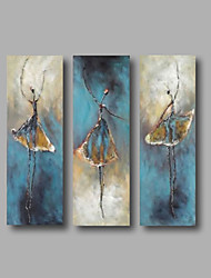cheap -Oil Painting Hand Painted - Abstract Abstract Portrait Modern Stretched Canvas / Three Panels