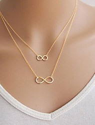 cheap -Mother Daughter Infinity Necklace Pendant Necklace Double Floating Ladies Basic Double-layer Alloy Golden Silver Necklace Jewelry