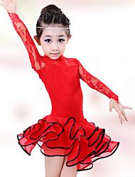 cheap -Latin Dance Dresses Performance Cotton Spandex Lace Long Sleeves High Dress