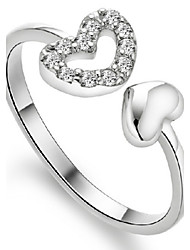 cheap -Women's Band Ring wrap ring thumb ring Sterling Silver Ladies Birthstones Party Daily Jewelry Heart Adjustable