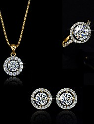 cheap -High Quality Crystal Zircon Pendant Jewelry Set Necklace Earring Gold Plated (Assorted Color)