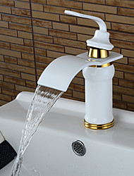 cheap -Bathroom Sink Faucet - Waterfall Painted Finishes Centerset Single Handle One HoleBath Taps / Brass