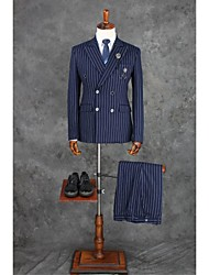 cheap -Ink Blue Checkered / Gingham Tailored Fit Polyester Suit - Notch Double Breasted Four-buttons / Suits