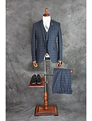 cheap -Ink Blue Checkered / Gingham Tailored Fit Cotton Blend Suit - Notch Single Breasted One-button / Suits
