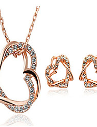 cheap -Jewelry Set Stud Earrings Pendant Necklace Heart Love Party Work Fashion Cubic Zirconia Rhinestone Rose Gold Plated Earrings Jewelry Rose Gold For Party Special Occasion Anniversary Birthday Gift 1