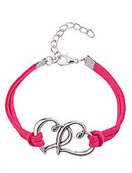 cheap -Women's Friendship Bracelet Leather Bracelet Heart Love Hollow Heart Ladies Unique Design Fashion Leather Bracelet Jewelry Rose / Red For Party Daily Casual