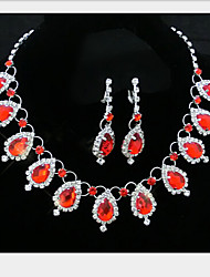 cheap -Crystal Jewelry Set Pendant Necklace Tassel Drop Ladies Party Cubic Zirconia Earrings Jewelry Red / Blue For