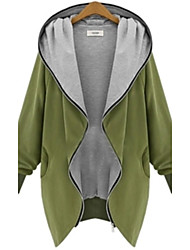 cheap -Women's Daily Basic Fall Plus Size Long Coat, Solid Colored Hooded Long Sleeve Black / Green / Loose