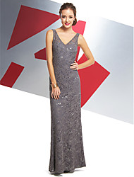 cheap -Mermaid / Trumpet V Neck Ankle Length All Over Lace Minimalist / Beaded & Sequin Prom / Formal Evening Dress with Lace 2020