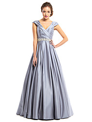 cheap -A-Line V Neck Floor Length Satin Elegant Prom / Formal Evening Dress 2020 with Beading / Criss Cross
