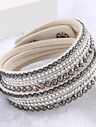cheap -Women's Crystal Wrap Bracelet Leather Bracelet Layered Stacking Stackable Cheap Ladies Luxury Unique Design Fashion Multi Layer Leather Bracelet Jewelry Beige / Purple / Light Green For Wedding Party