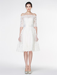 cheap -A-Line Off Shoulder Knee Length Lace 3/4 Length Sleeve Formal / Romantic Little White Dress / Illusion Sleeve Wedding Dresses with Lace 2020