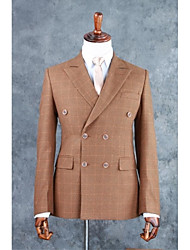 cheap -Brown Checkered / Gingham Tailored Fit Cotton Blend Suit - Notch Double Breasted Four-buttons / Suits