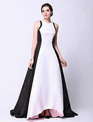 cheap -Ball Gown Celebrity Style Elegant Prom Formal Evening Dress Jewel Neck Sleeveless Asymmetrical Taffeta with Pleats 2021