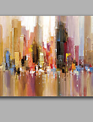 cheap -Oil Painting Hand Painted - Abstract European Style With Stretched Frame / Stretched Canvas