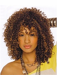 cheap -Synthetic Wig Kinky Curly Kinky Curly Wig Short Brown Synthetic Hair 16 inch Women's Highlighted / Balayage Hair African American Wig Brown