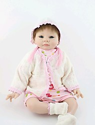 cheap -NPK DOLL Reborn Doll Baby 22 inch Silicone Vinyl - Newborn lifelike Hand Made Child Safe Non Toxic Hand Applied Eyelashes Kid's Girls' Toy Gift / CE Certified / Natural Skin Tone / Floppy Head