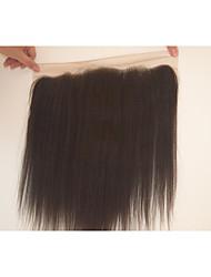 Недорогие -100% ручная работа / Полностью ленточные Прямой / Яки Бесплатный Часть / Средняя часть / 3 Часть Швейцарское кружево Натуральные волосы