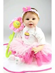 Недорогие -NPK DOLL Куклы реборн Дети 22 дюймовый Силикон Винил - Новорожденный как живой Милый стиль Ручная работа Безопасно для детей Non Toxic Детские Девочки Игрушки Подарок / CE / Естественный тон кожи