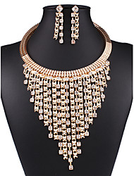 cheap -Women's AAA Cubic Zirconia Jewelry Set Hoop Earrings Layered Luxury Tassel Fashion Multi Layer Imitation Diamond Earrings Jewelry Gold For Daily