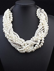 cheap -Women's Pearl Statement Necklace Layered Twisted Statement Ladies Luxury Pearl Alloy White Necklace Jewelry For Wedding Party Special Occasion Cosplay Costumes