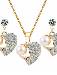 cheap -Pearl Jewelry Set Pendant Necklace Heart Love Luxury Party Fashion Pearl Cubic Zirconia Rose Gold Plated Earrings Jewelry Gold For Party Special Occasion Anniversary Birthday Gift / Imitation Diamond